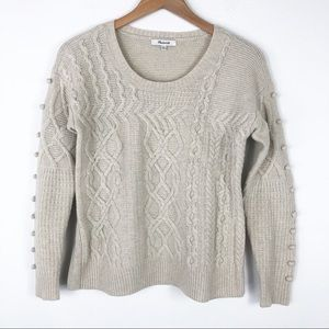 Madewell Cable Knit side bobble knit sweater